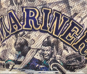 """KGJ and the Miracle Mariners"" SPECIAL EDITION w/backside art (ft. the iconic Junior Swing) Seattle Mariners - Original on Wood 1/1"