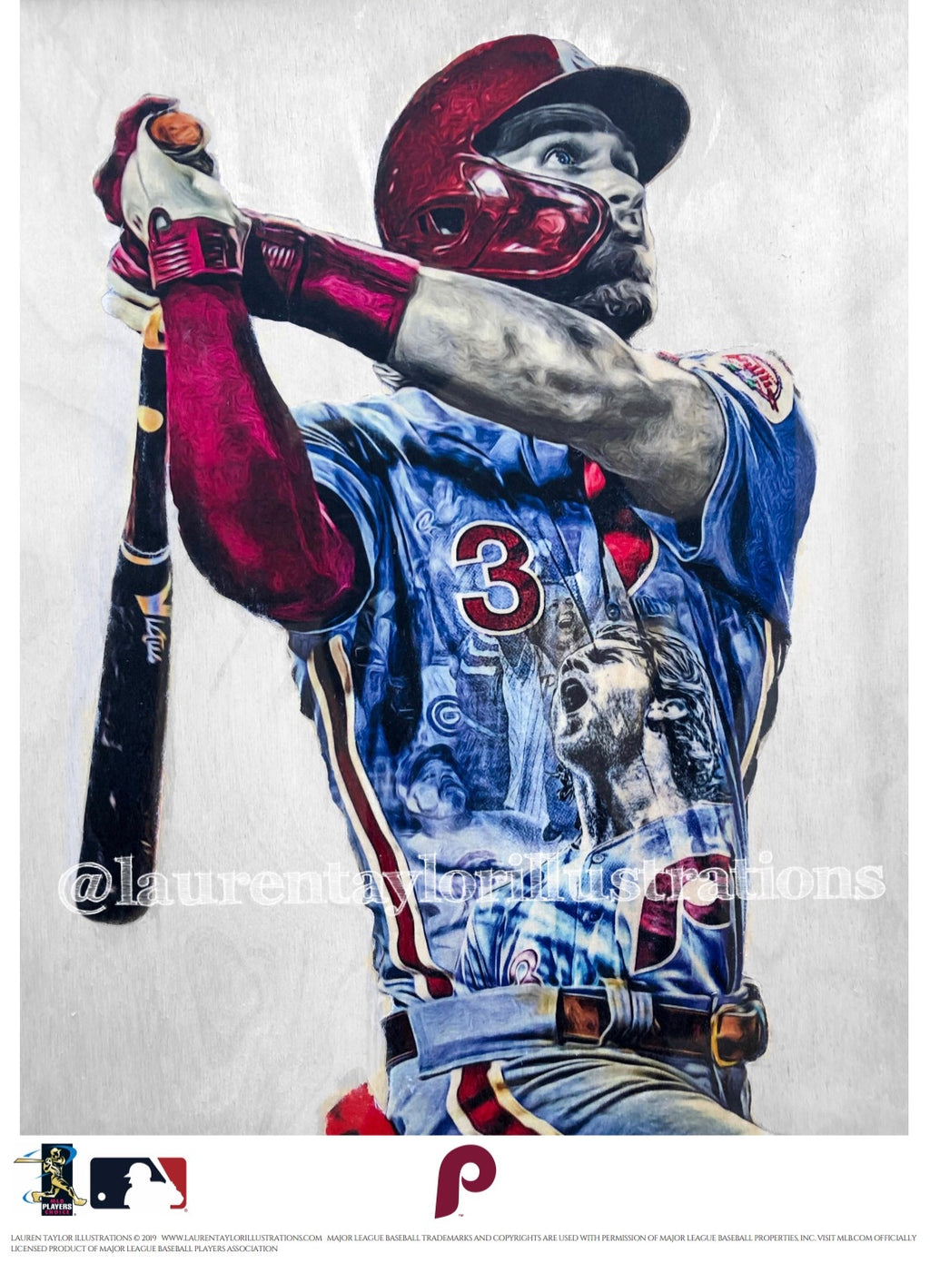 """HARPER Smash"" (Bryce Harper) Philadelphia Phillies - Officially Licensed MLB Print - Limited Release"