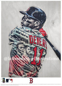 """Raffy 2 Scoops"" (Rafael Devers) Boston Red Sox - Officially Licensed MLB Print - Limited Release"