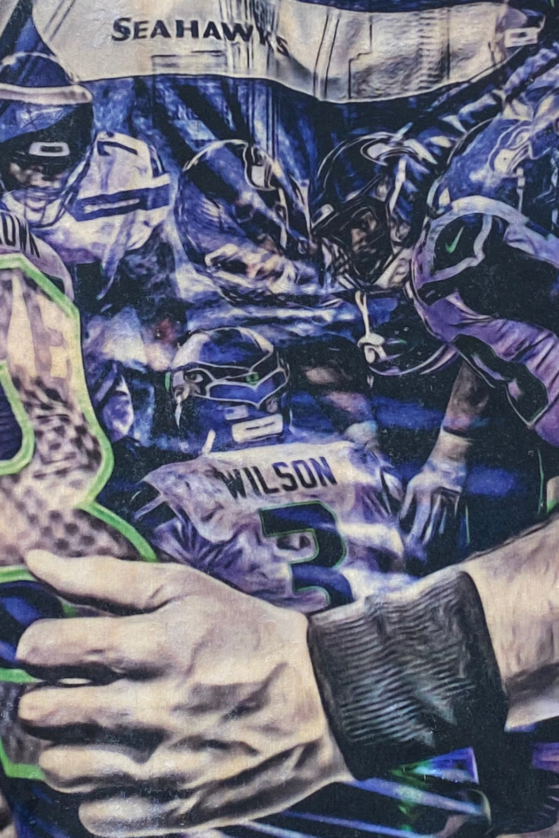 """Mr. Unlimited"" (Russell Wilson) Seattle Seahawks - 1/1 Original on Wood"