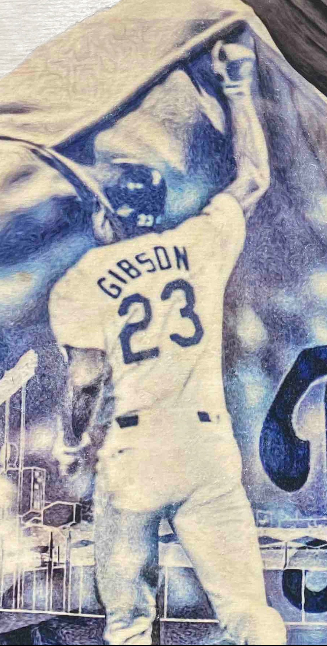 """Gibby"" (Kirk Gibson) Los Angeles Dodgers - 1/1 Original on birchwood"