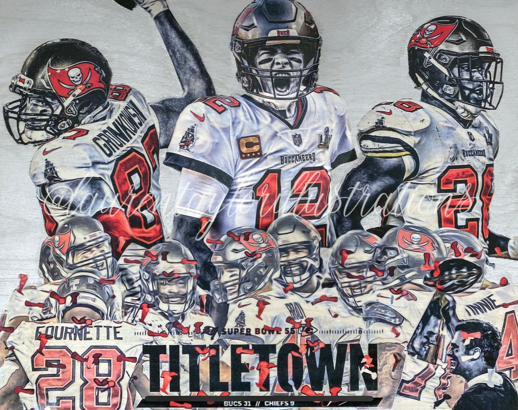 """Super Bowl LV Champions"" (Featuring Brady, Gronkowski and Fournette) Tampa Bay Buccaneers - 1/1 Original on Wood (14x18x1)"