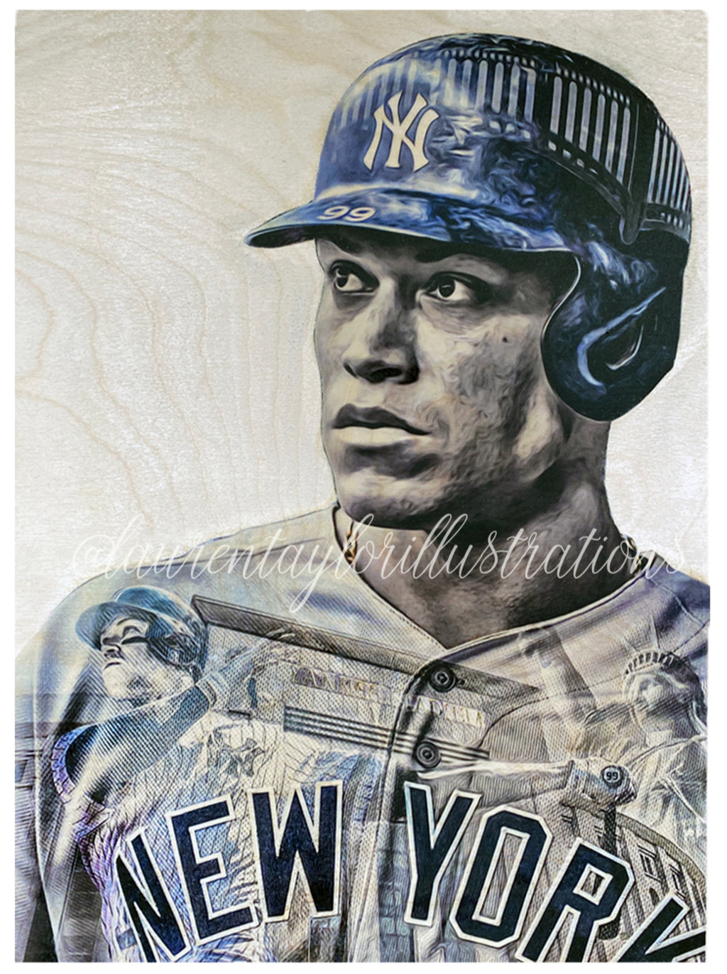 """All Rise for the Judge"" (Aaron Judge) New York Yankees - 1/1 Original on Wood"