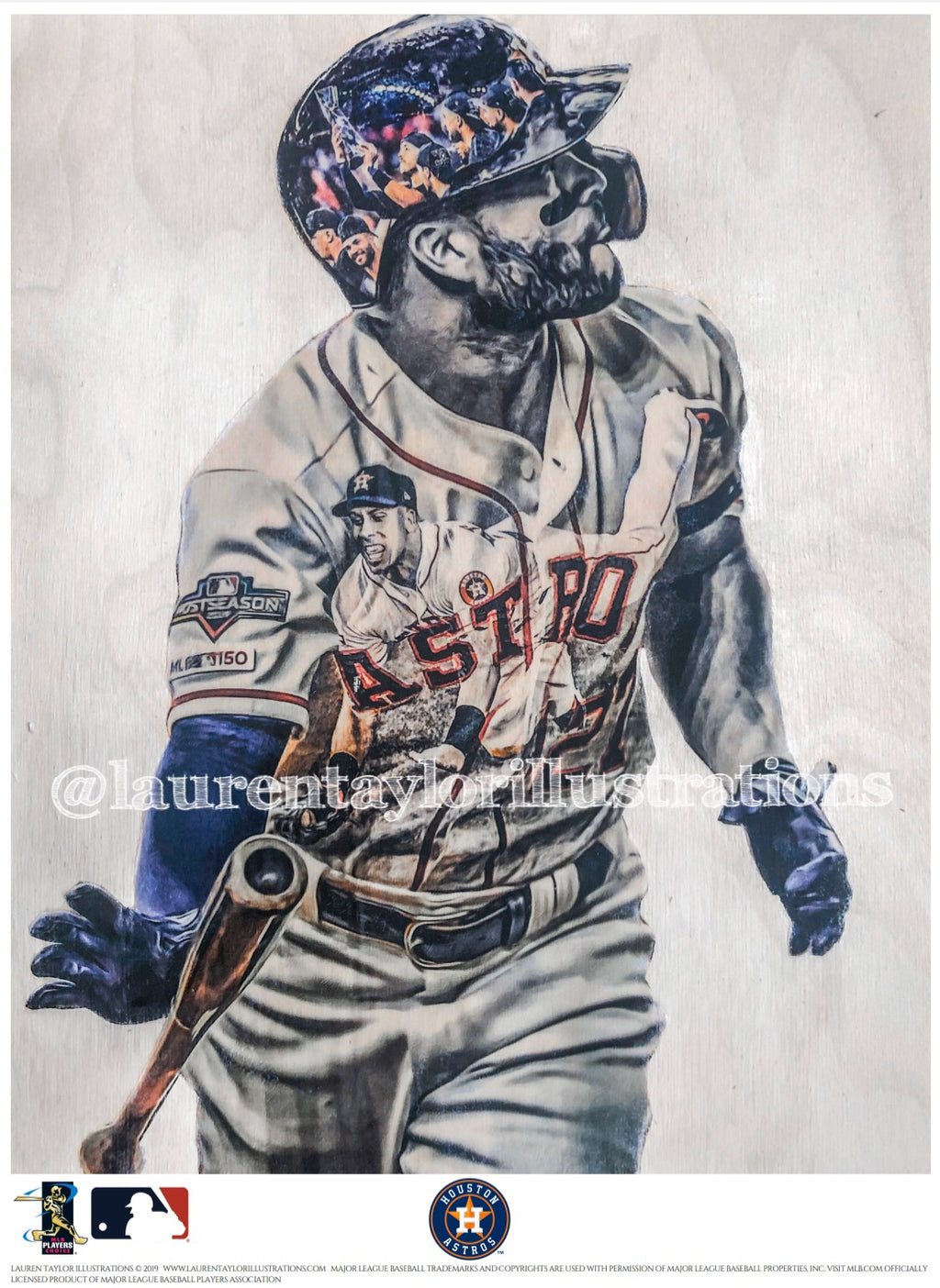 """Game 6 Walk Off"" (Jose Altuve/Michael Brantley) Houston Astros - Officially Licensed MLB Print - Limited Release"