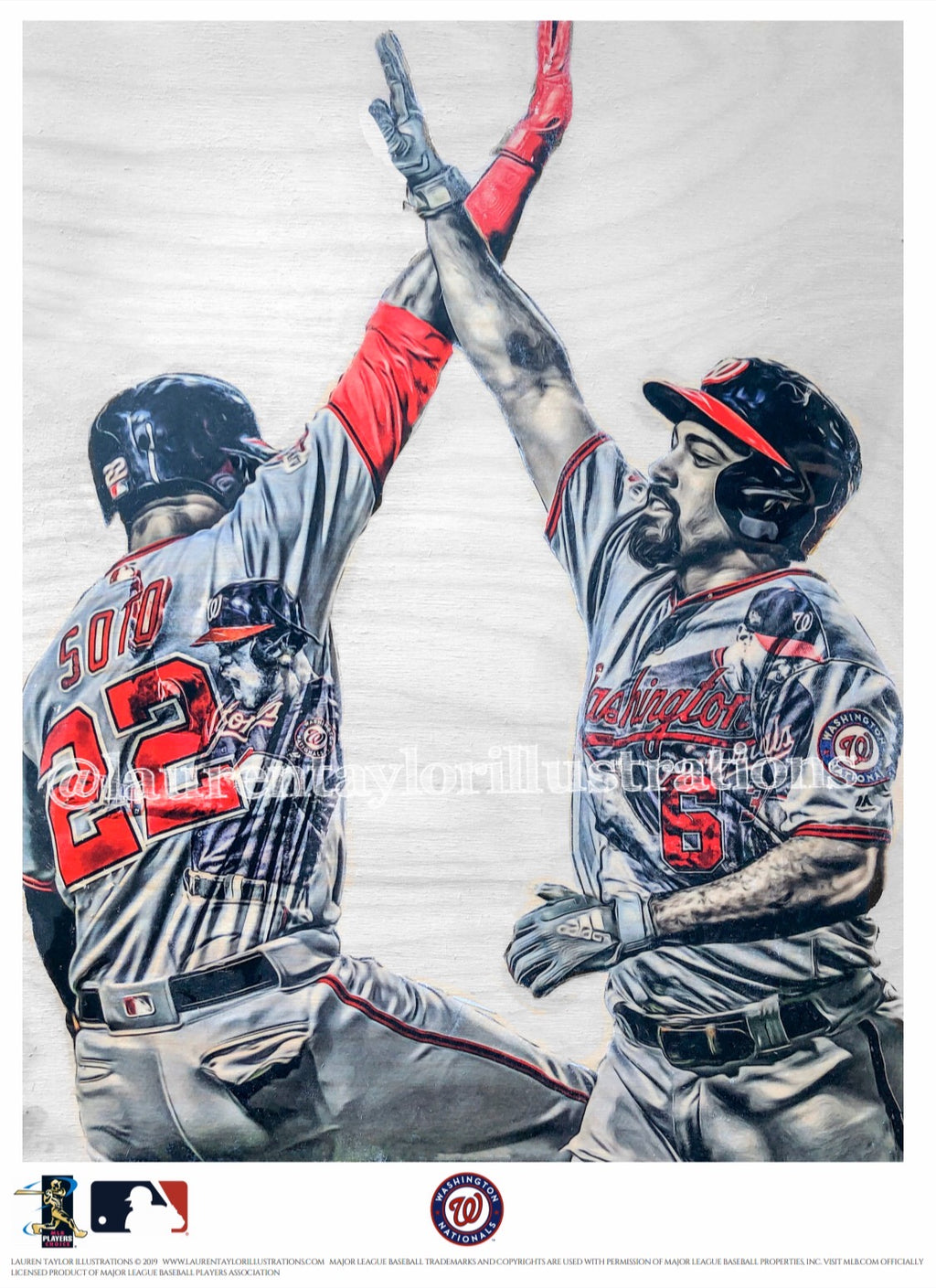 """Curly W"" (Rendon/Soto/Kendrick/Scherzer) Washington Nationals NLDS - Officially Licensed MLB Print - Limited Release"