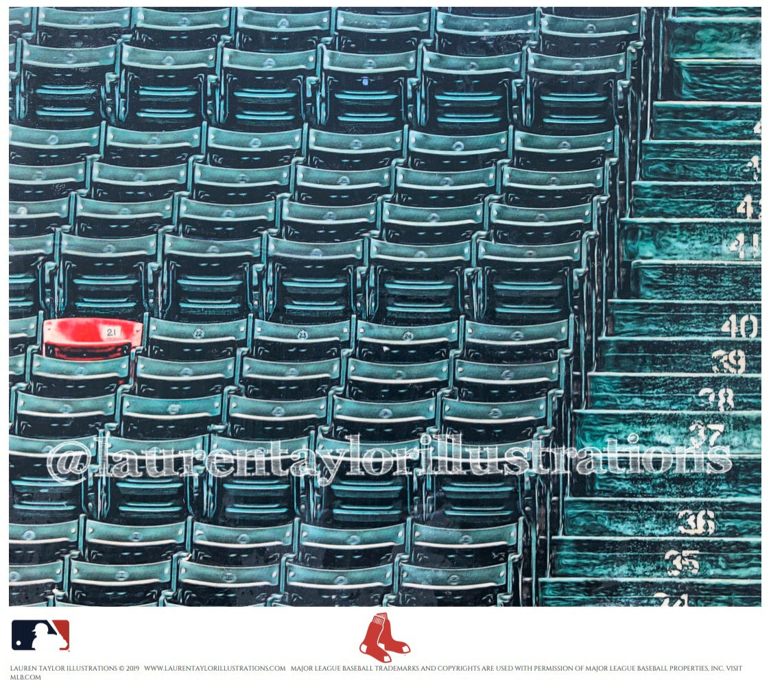 """Section 42, Row 37, Seat 21"" (The Red Seat) Boston Red Sox - Officially Licensed MLB Print - Limited Release"