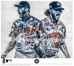 """Aces"" (Verlander, Cole, Greinke, Urquidy) Houston Astros - Officially Licensed MLB Print - Limited Release"