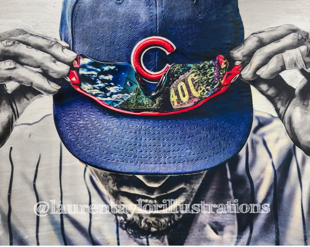 """Gametime"" (Chicago Cubs & Wrigley Field) 1/1 Original on Wood"