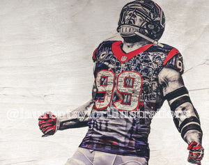 """JJ"" (JJ Watt) 1/1 Original on Wood - Houston Texans"