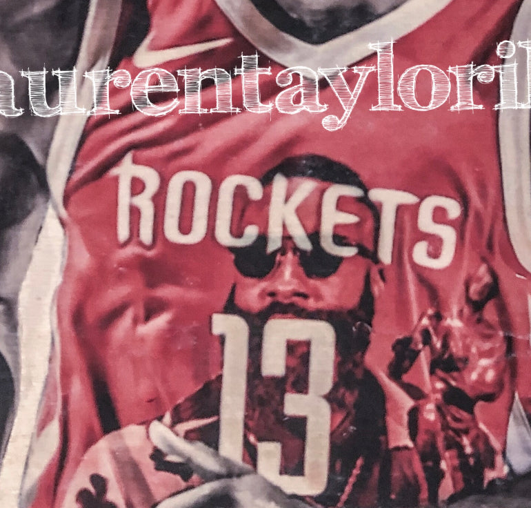 """Harden"" (James Harden) - Houston Rockets - 1/1 Original on Wood"