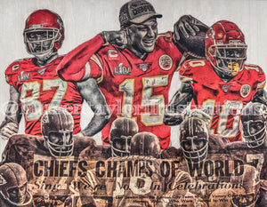 """Super Bowl LIV Champions"" (Featuring Mahomes, Kelce, Hill & 1970 Team) Kansas City Chiefs - 1/1 Original on Wood"