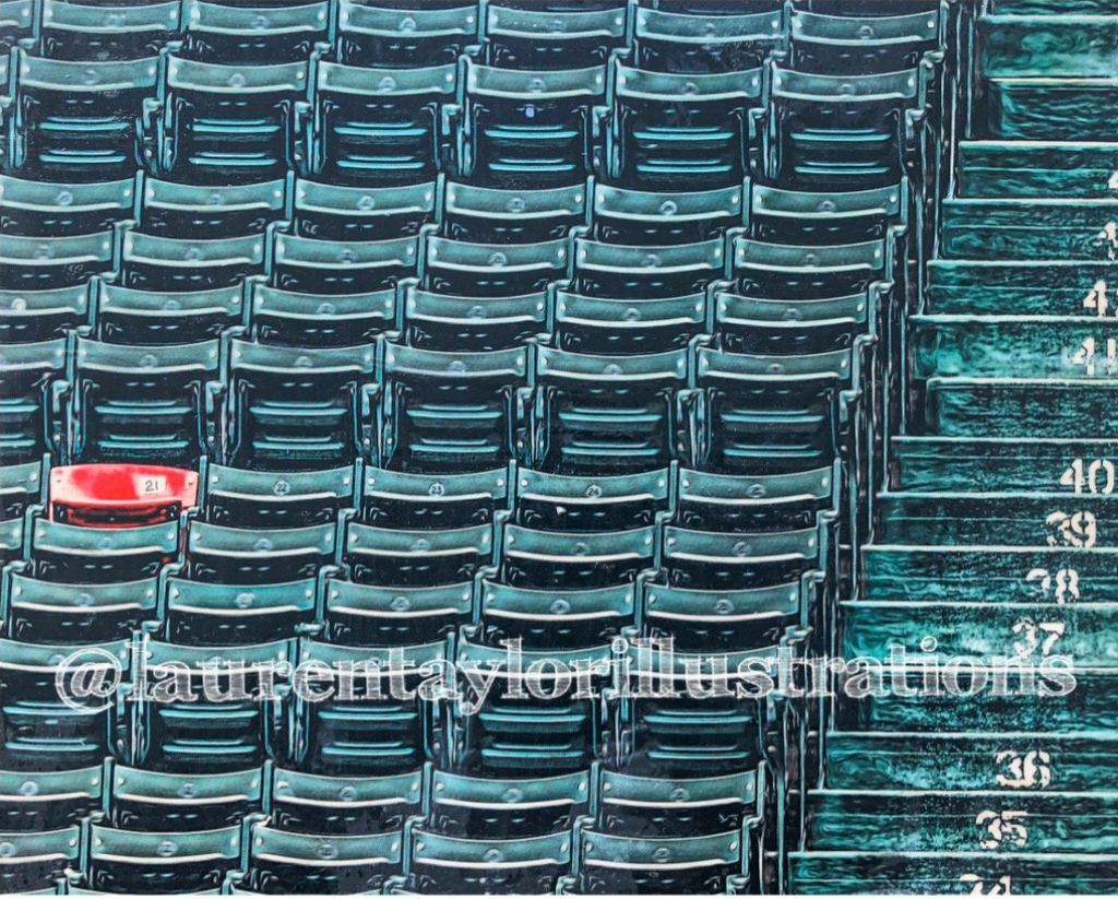 """Section 42, Row 37, Seat 21"" (The Red Seat) Boston Red Sox - 1/1 Original on Wood"