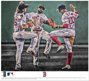 """Win, Dance, Repeat"" (Bradley Jr, Betts, Benintendi)  - Officially Licensed MLB Print"