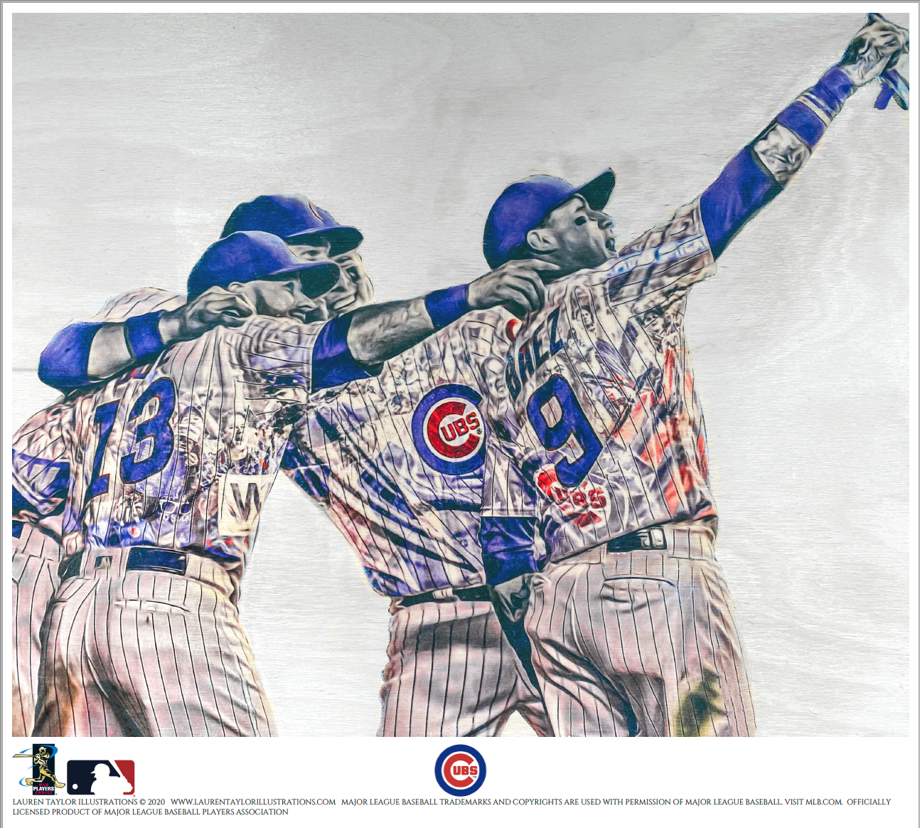 """Selfie"" (Baez, Rizzo, Zobrist, Bote) Chicago Cubs - Officially Licensed MLB Print - Limited Release"