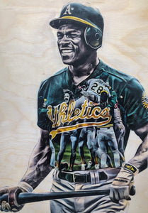 """Rickey and the '89 A's"" 1/1 Original on Wood"