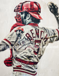 """Little General"" (Johnny Bench) - Cincinnati Reds - 1/1 Original on Wood"