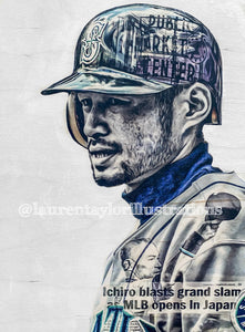 """Ichiro"" (Ichiro Suzuki) Seattle Mariners - 1/1 Original on Wood"