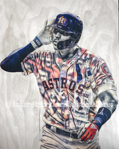 """Correa Walk Off"" (Carlos Correa) Houston Astros - 1/1 Original on Wood"