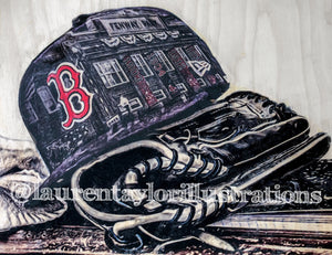 """#DirtyWater"" (Boston Red Sox) 1/1 Original on Wood"