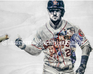 """Bregman"" (Alex Bregman)"" 1/1 Original on Wood"