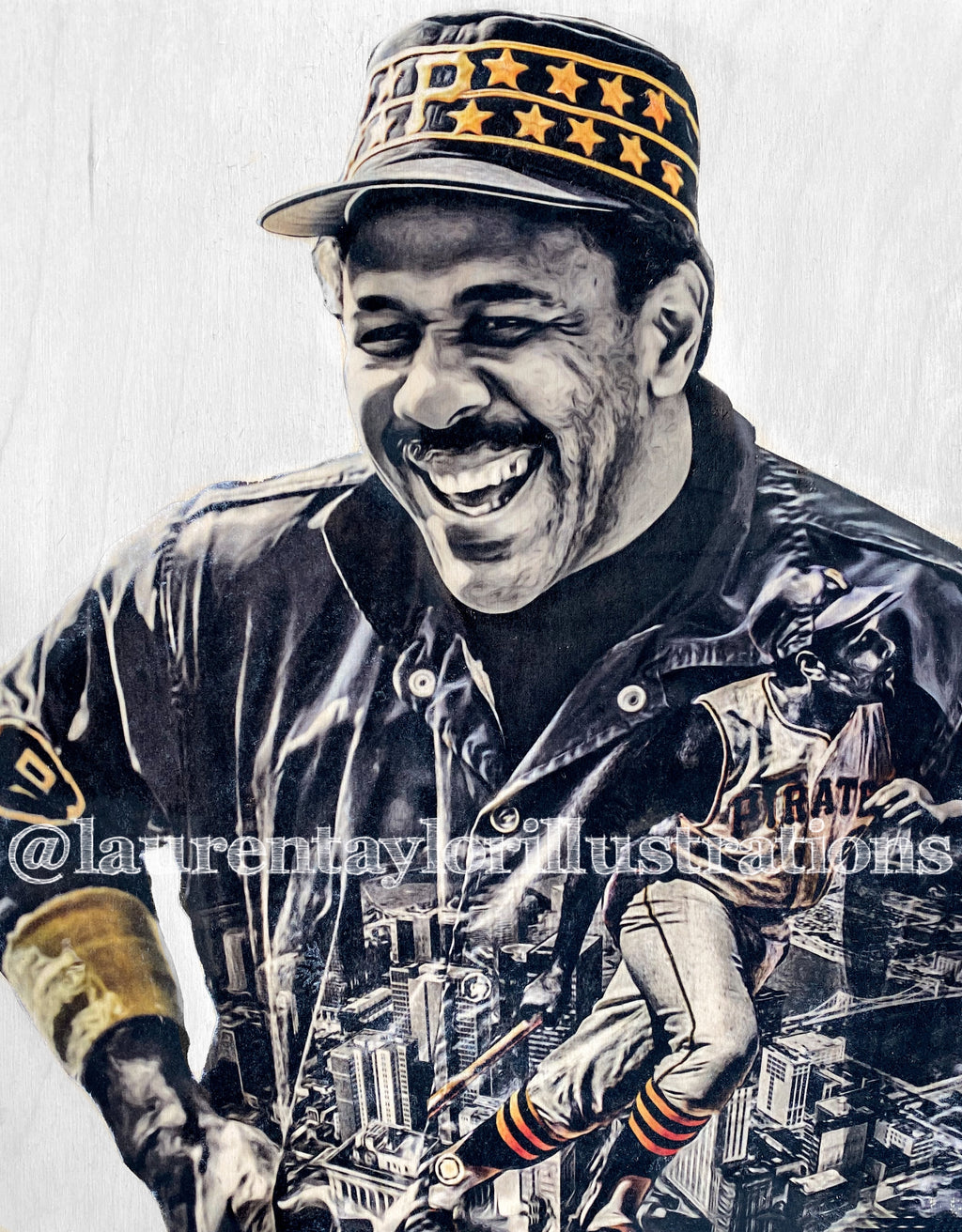 """Pops"" (Willie Stargell) Pittsburgh Pirates- 1/1 Original on Wood"