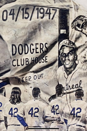 """April 15 1947"" (Jackie Robinson) Brooklyn Dodgers - 1/1 Original on birchwood"