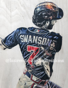 """Swanson"" (Dansby Sawnson) 1/1 Original on Wood"