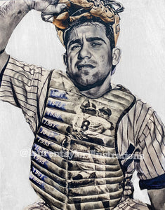 """Yogi"" (Yogi Berra) New York Yankees - 1/1 Original on Birchwood"