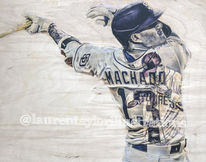 """Machado"" (Manny Machado) San Diego Padres - 1/1 Original on Wood"