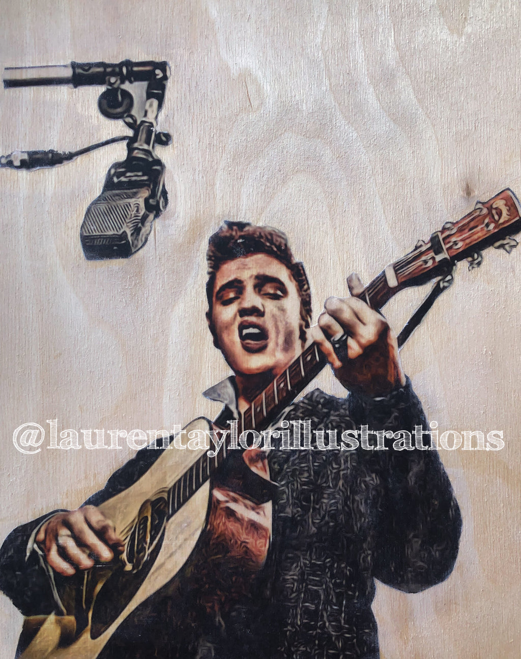"""Elvis"" 1/1 Original on Wood"