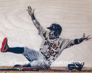 """Gigante (Jose Altuve)"" 1/1 Original on Wood"