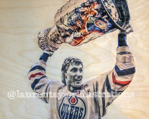 """Gretzky"" Wayne Gretzky - Edmonton Oilers 1/1 Original on Wood"