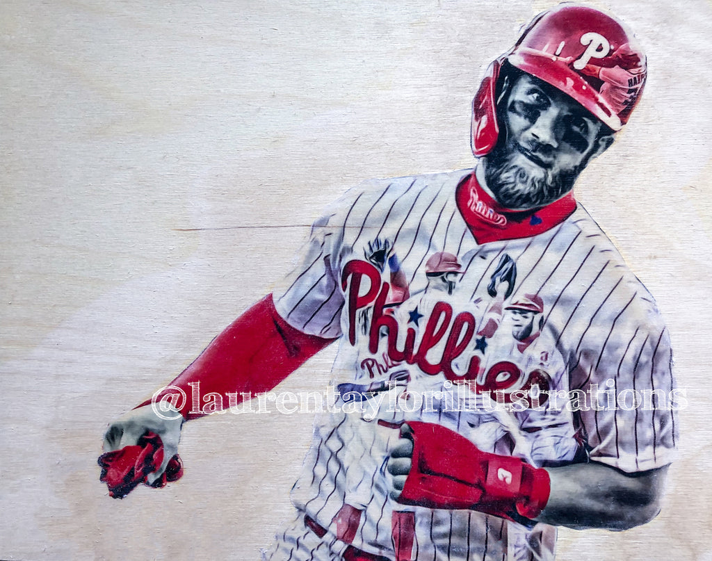 """Philly Harper"" (Bryce Harper) Philadelphia Phillies - 1/1 Original on Wood"