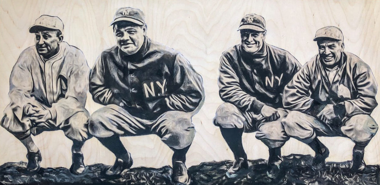 """Cobb, Babe, Gehrig, Speaker"" (Vintage Baseball) 15x30 Original on Wood"