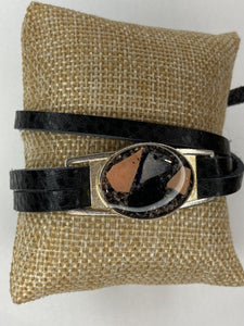 Leather Wrap Shell Bracelet
