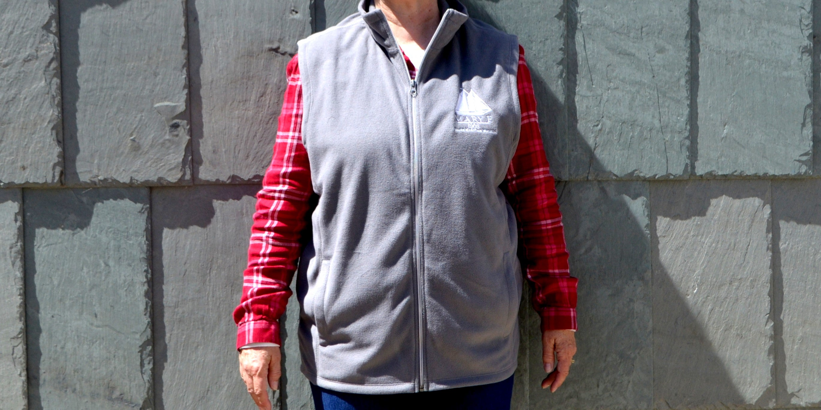 Gray Mary E fleece vest from Maine Maritime Museum