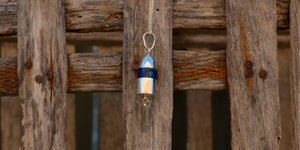 Azurite set in sterling sliver buoy pendant necklace handmade on Cape Cod