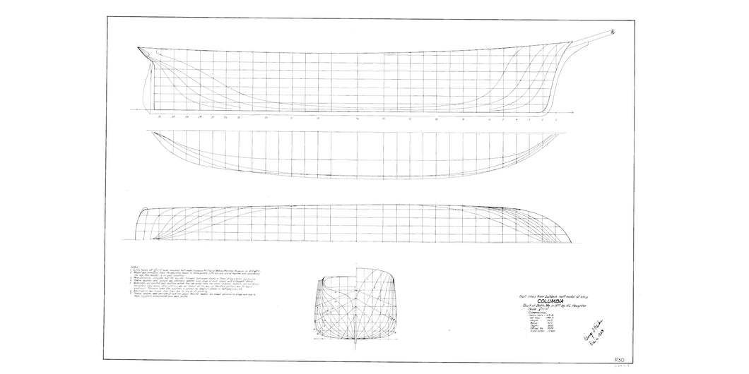 Ship Columbia lines drawing