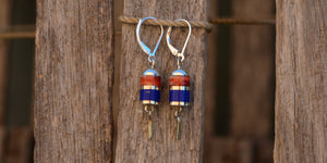 Red spiny oyster and lapis set in sterling silver earrings handmade on Cape Cod