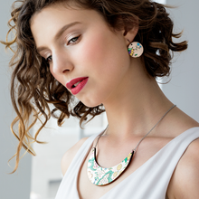 Load image into Gallery viewer, French Wallpaper Round Drop Earrings