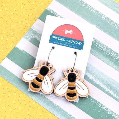 In the Garden Bee Hoop Earrings - Dressed for Sunday