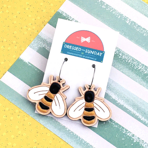 In the Garden Bee Hoop Earrings
