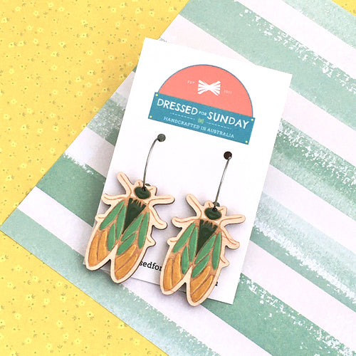 In the Garden Cicada Hoop Earrings