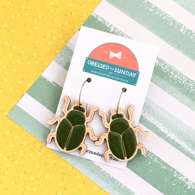 In the Garden Scarab Hoop Earrings - Dressed for Sunday