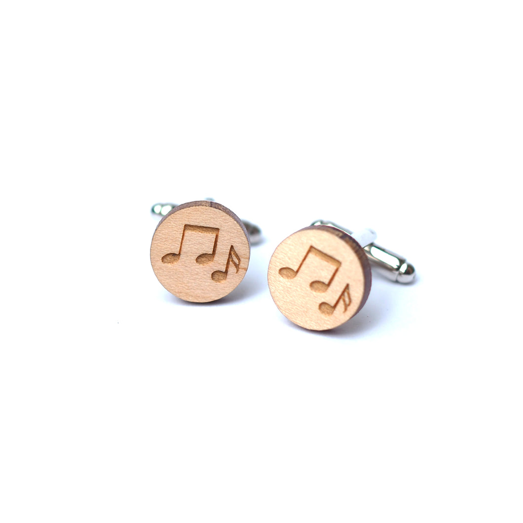Dressed for Sunday Cufflinks Music Notes Musical Etched Handpainted Vintage Inspired Canberra Handmade for the Dapper Gent