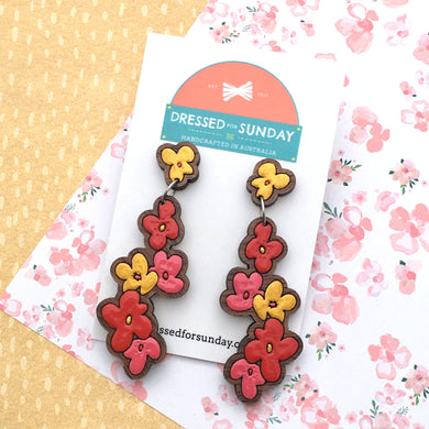 Blushing Hearts Flower Drop Earrings - Dressed for Sunday