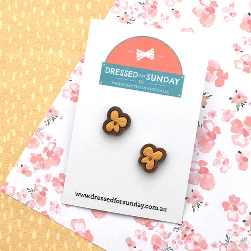 Blushing Hearts Gold Stud Earrings