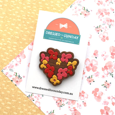 Blushing Hearts Heart Brooch - Dressed for Sunday