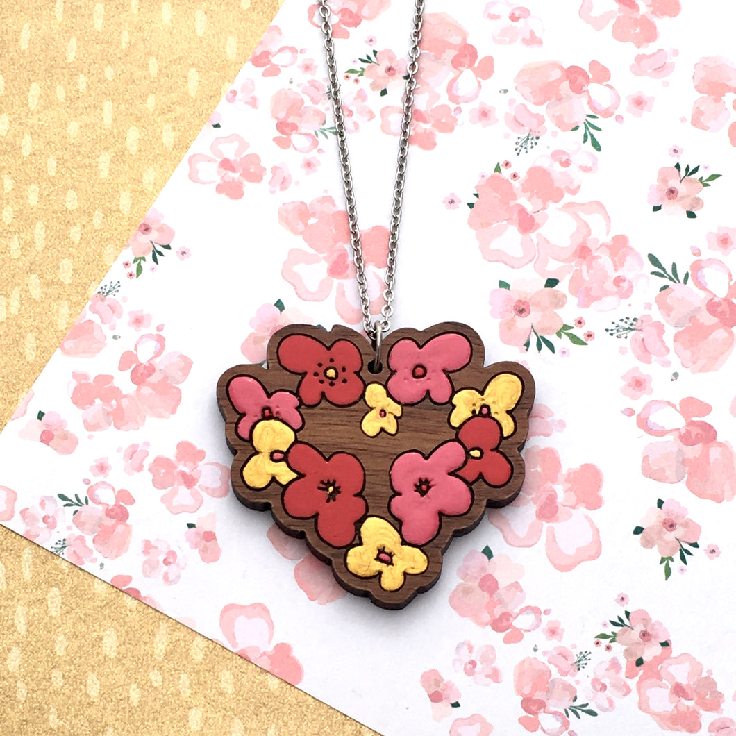 Blushing Hearts Heart Necklace