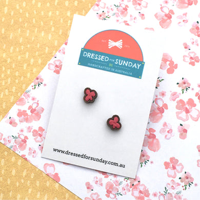 Blushing Hearts Pink Stud Earrings - Dressed for Sunday